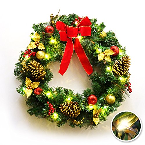 Pre Lit Artificial Pine Wreath - BenefitUSA 24