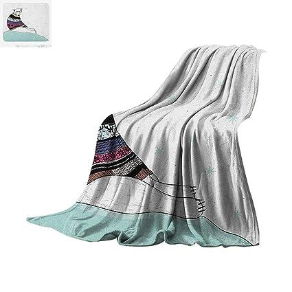 711e2bf3f3a Amazon.com: Bear Throw Blanket Hipster Polar Bear with Fair Isle ...