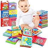 Renfox Baby Cloth Books for Babies Toddlers Nontoxic Fabric Soft Books Multi-Coloured Activity Early Learning Books - 6 Packs