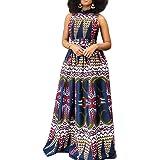 VERWIN Sleeveless Print Floor-Length High Waist Expansion Cocktail Party Dress Maxi Dress