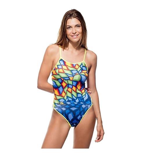 Turbo - Bañador Mujer Crystal Azul Profesional Señora, Traje de Baño de Natacion Entrenamiento Competicion, Tira Estrecha Doble Capa: Amazon.es: Ropa y ...