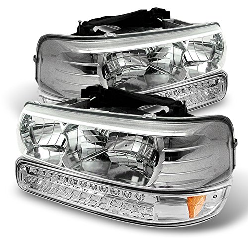 Silverado Crystal - For Chevy Silverado/Tahoe/Suburban Crystal Clear Headlights + LED Bumper Signal Light Set