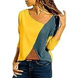 heekpek Costura Color De Contraste Cuello Redondo Manga Larga/Corta Camiseta Mujer Top Mujer Camisas Mujer Verano…