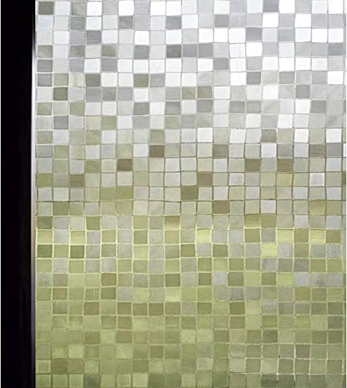 DUOFIRE 3D Window Film Big Mosaic Privacy Window Film Decorative Film Static Cling Glass Film No Glue Anti-UV Window Sticker Non Adhesive for Home Kitchen Office DL014 35.4in. x 157.4in.