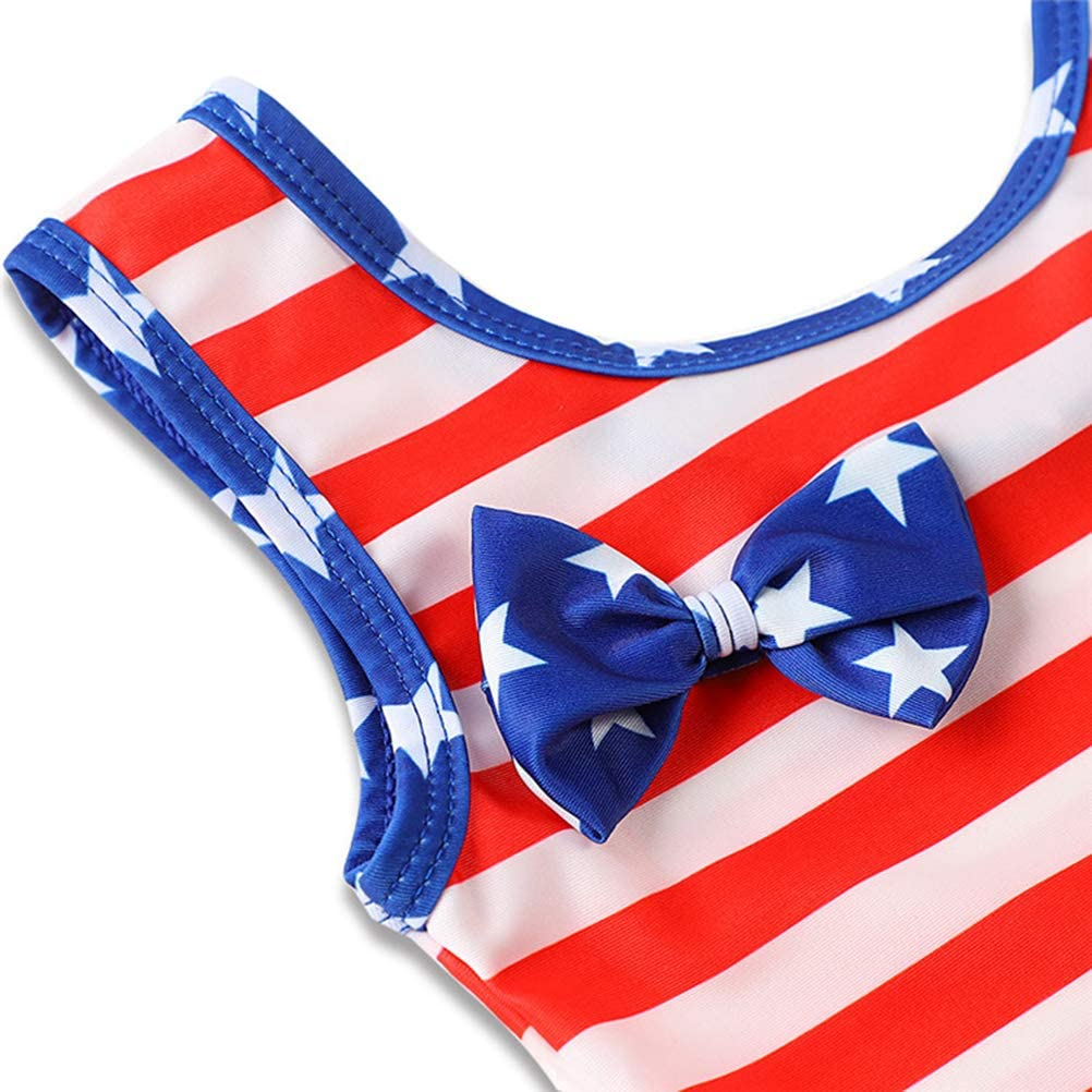 FENICAL America Flag Swimsuit Flouncing Lace Swimwear Baby Girl One-Piece Swimsuit 4T, 4-5 Years Old
