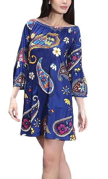 Damen Kleider Longshirt Sommerkleider Tunika Trompeten-Ärmel Schulterfrei  Boot Hals Gemustert Mini: Amazon.de: Bekleidung