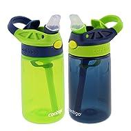 Contigo Kids Autospout Gizmo Water Bottle, 14oz (Chartreuse/Navy Blue) - 2 Pack