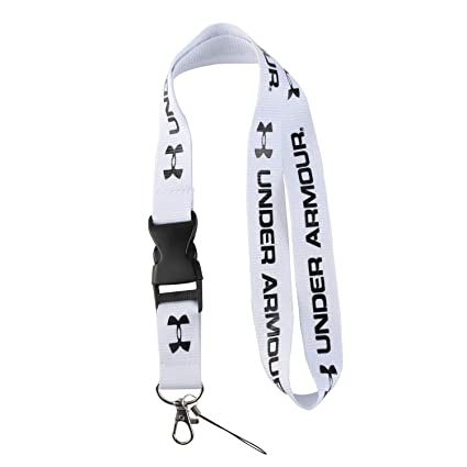 Lanyard Keychain Holder Keychain Key Chain Black Lanyard Clip with Webbing Strap (White Under Armor)