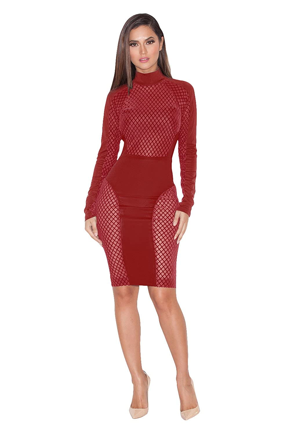 Amever Women's Sexy Dress Hollow Out Sexy Bodycon High Neck Bandage Club Party Dress Clubwear