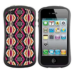 Suave TPU Caso Carcasa de Caucho Funda para Apple Iphone 4 / 4S / Ethnic Culture Pink Vertical / STRONG