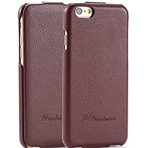 Genuine Leather! Fashion Ultra Thin Lychee Pattern Case For iphone 6 4.7 inch Vertical Flip Shock Proof Shell Cover For iphone 6 --- Color:brown