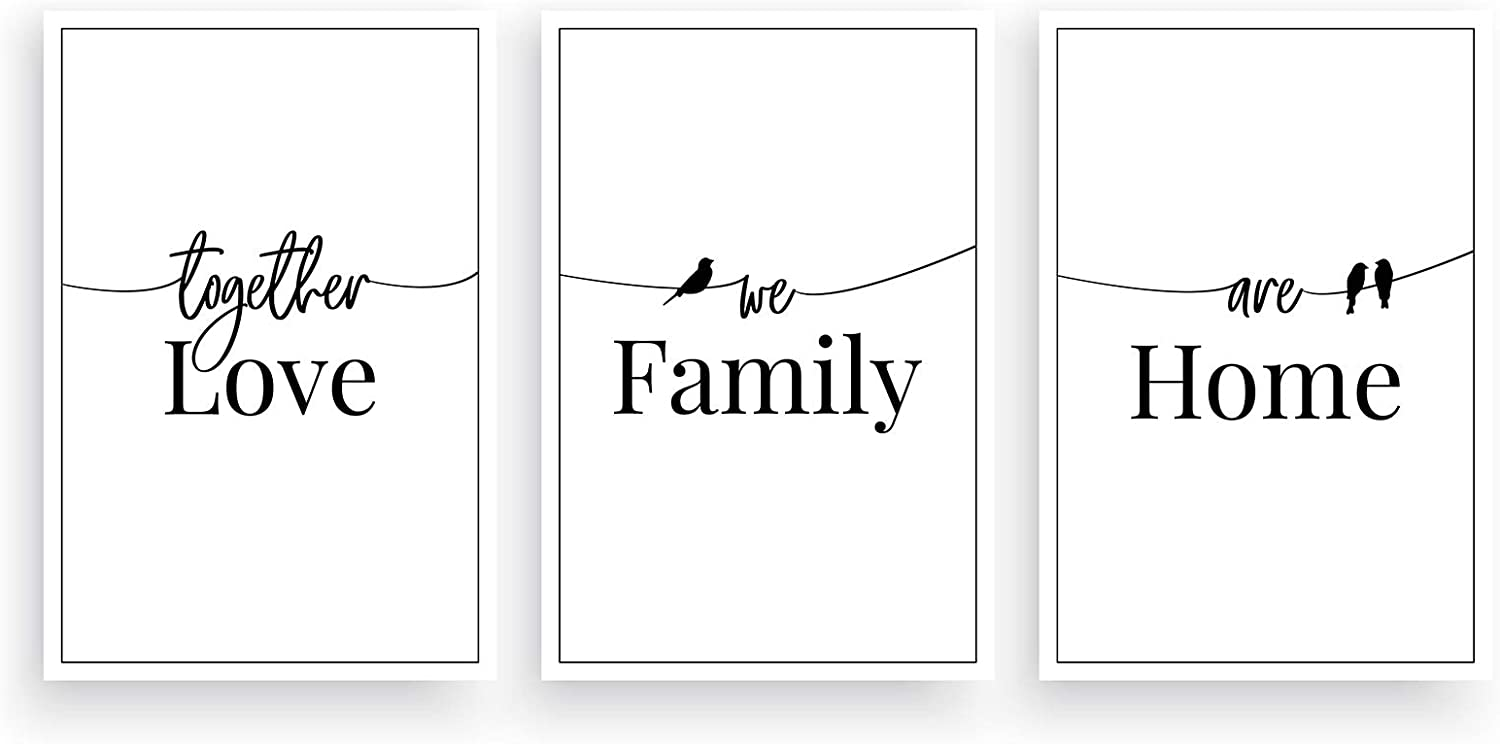 """Minimalist Simple Text Home Decor Canvas Wall Art,Love Family and Home Moderm Canvas Print for Living Room, Bedroom Wall Decoration 12""""x16"""" 3 Panel Framed Ready to Hang"""