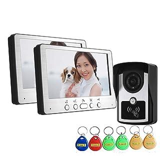 Monitor TFT LCD Video Portero Interfono Intercom (Cámara De Vigilancia/Desbloqueo Remoto/Visión Nocturna/CCTV Seguridad Kit) Resistente Al Agua IP55 OOFAY Video Doorbell@