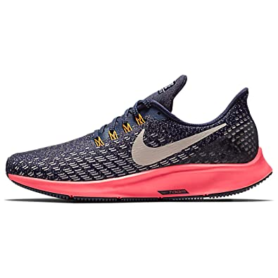NIKE Womens Air Zoom Pegasus 35, Blackened Blue/Flash Crimson/Orange Peel/