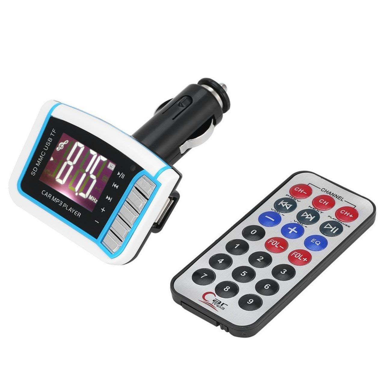 Liobaba Practical Handsfree Car Kit MP3 Player FM Transmitter Modulator USB MMC 1.44 LCD with Remote Control