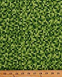 Art and Craft Supply - Cotton Bitmap Pixels Digital Building Blocks Squares Gamer Video Games Green Cotton Fabric Print by the Yard (cx7029-gree-d)