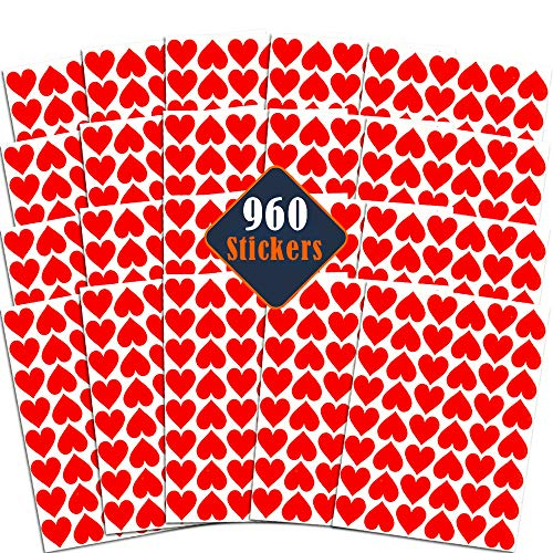 Red Heart Stickers Bulk Set - 960 Hearts Sticker Labels for Valentines, Party Supplies, Party Favors, Weddings, Scrapbooking, Envelopes, Cards, Crafts, Decorations, and More (20 Sheets)