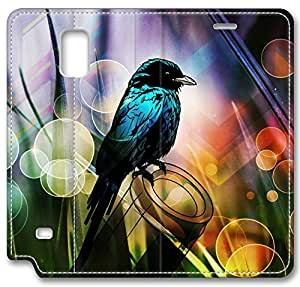 Abstract Artistic Psychedelic Bird Leather Cover for Samsung Galaxy Note 4