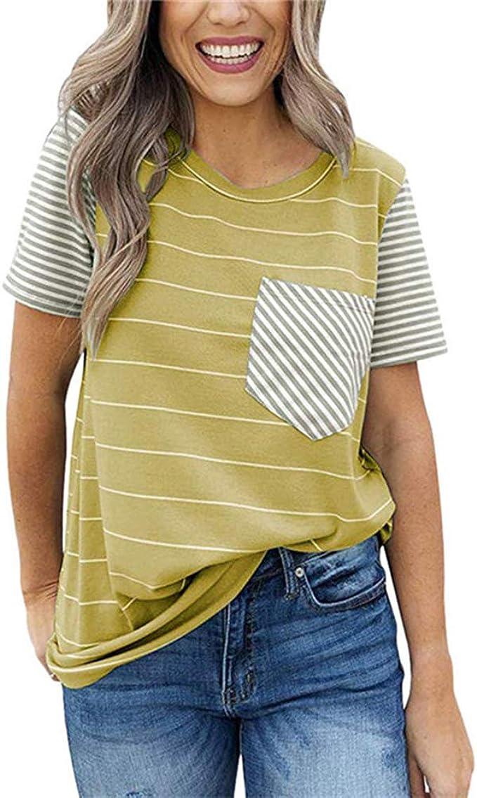 Camiseta Manga Corta Mujer Primavera Y Verano Rayas ...