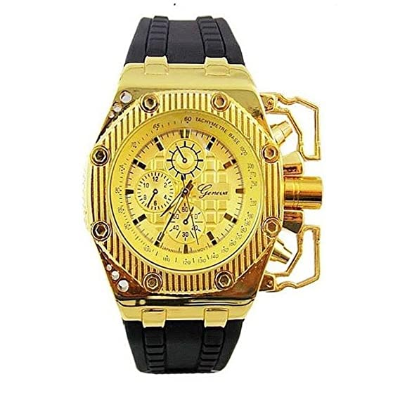 Oro Negro para hombre reloj grande de metal de ginebra novio funda moda banda de silicona
