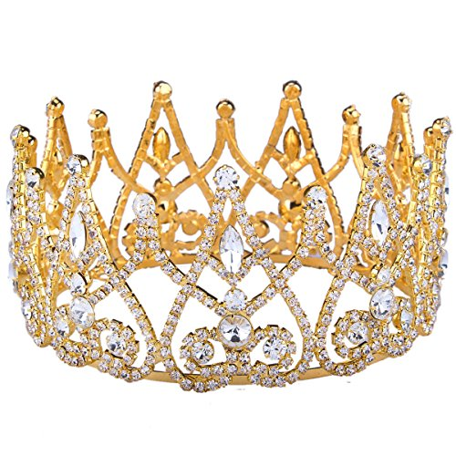 Stuffwholesale Royal Gold Silver Crown Rhinestone Crystal Princess Queen Tiaras Party Prom Pageant Hair Jewelry With Bobby Pins Gold