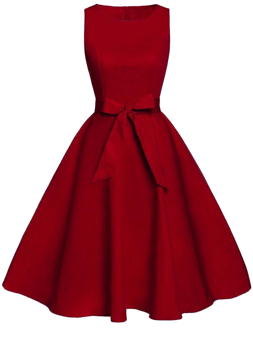 TALLA XXL. FAIRY COUPLE 50s Vestido de Partido Floral Retro del Oscilación del Cóctel del Vintage con el Arco DRT017 Borgoña XXL