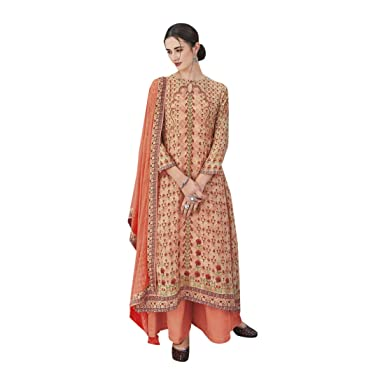 b95b0c3d36 Amazon.com: Orange XXL size Printed Stylish Cotton Silk Palazzo style  Salwar Kameez suit for Women Indian Formal Party wear Muslim 7619: Clothing