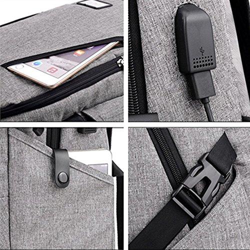 Reise Laptop Rucksack - 15,6 Zoll Geschäft Anti-Diebstahl Rucksack mit USB-Ladeanschluss Schlanker leichter wasserdichter Notizbuch Rucksack für Männer, Frauen, mittlerer Student (Schwarz) Grau
