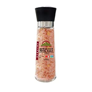 Himalayan Chef Pink Salt Refillable Glass Grinder, Roasted Garlic & Crushed Red Pepper, 11.5 Oz