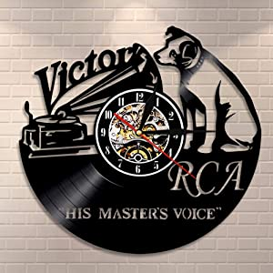 GXYtable cloth RCA Victor Dog His Master s Voice Musical Dog Wall Clock Victor Nipper Dog Vintage Vinyl Record Clock Rock n Roll Music Gift