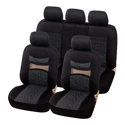 AUTOYOUTH Gray Print Black Car Seat Covers Full Set Car Seat Protectors Car Seat Accessories 9PCS Fit 40/60 Split, 40/20/40 Split and 50/50 Split: Automotive