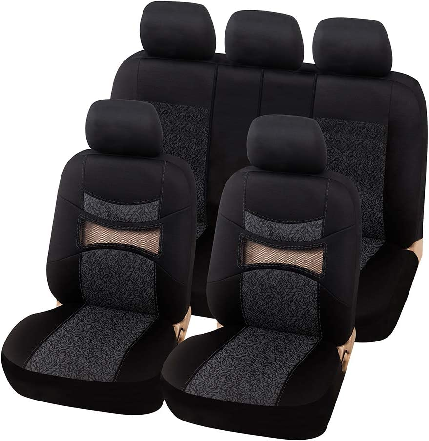 40//20//40 Split and 50//50 Split AUTOYOUTH Red Print Black Car Seat Covers Full Set Car Seat Protectors Car Seat Accessories 9PCS Fit 40//60 Split
