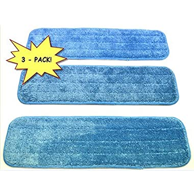 3-pack 18  Microfiber Dust Mop / Wet Mop Pads, made by Wellness Cleaning Supply. Commercial grade, Wet/Dry use, and Washable!! Look for the WCS tag to ensure genuine quality, ONLY available directly from Wellness Cleaning Supply.