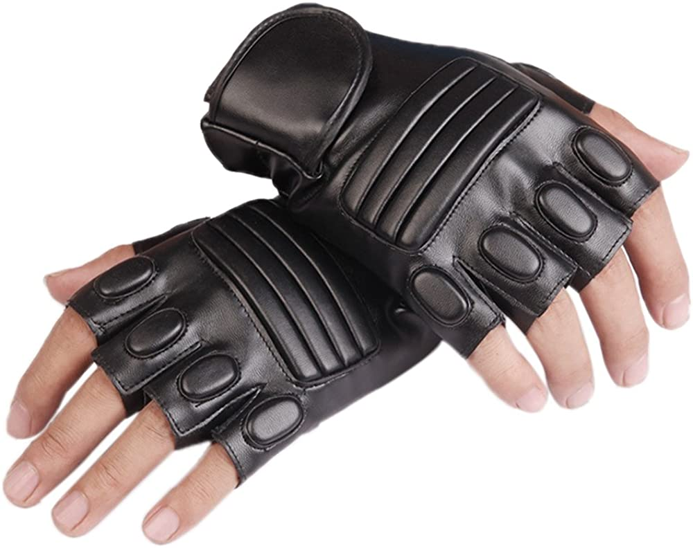 SCASTOE Mens Artificial Leather Gloves Half Finger Stage MTB Cycling Driving