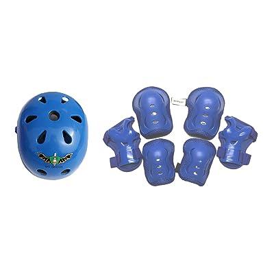 Fantasycart's Kid's Skateboard Longboard Helmet Knee & Elbow Pads Wrist Guard Combo Blue Set 2-8 Years Old : Sports & Outdoors