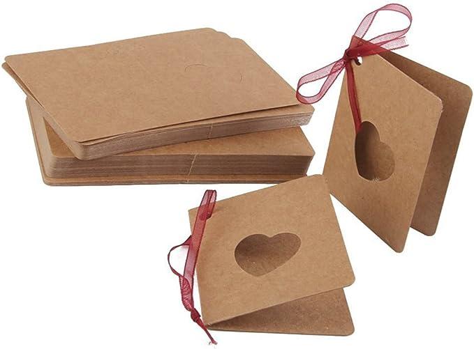 Miji 50 St/ück Kraftpapier Anh/änger Geschenkanh/änger in Keksform f/ür Hochzeit Weihnachten Geburtstag Geschenk Basteln