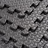 "Soozier Exercise Interlocking Protective Flooring - 24"" x 24"" x 3/8"" Tiles - Black Diamond Plate"