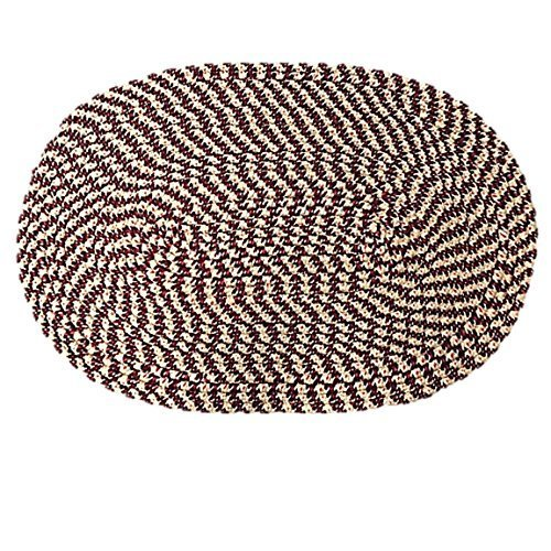 Braided Oval Braided Floor Door Throw Mat Rug Assorted Woven 19 by 29 (Red Burgundy)