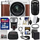 Fujifilm X-A5 Wi-Fi Digital Camera & 15-45mm XC Lens (Brown) 50-230mm Lens + 32GB Card + Battery & Charger + Case + Strap + Tripod + Flash + Kit
