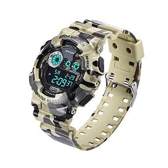 Reloj Digital Multifuncional Sanda Sport, Reloj electrónico LED para Hombres y Mujeres, Reloj de Pulsera Impermeable para Estudiantes de Moda: Amazon.es: ...