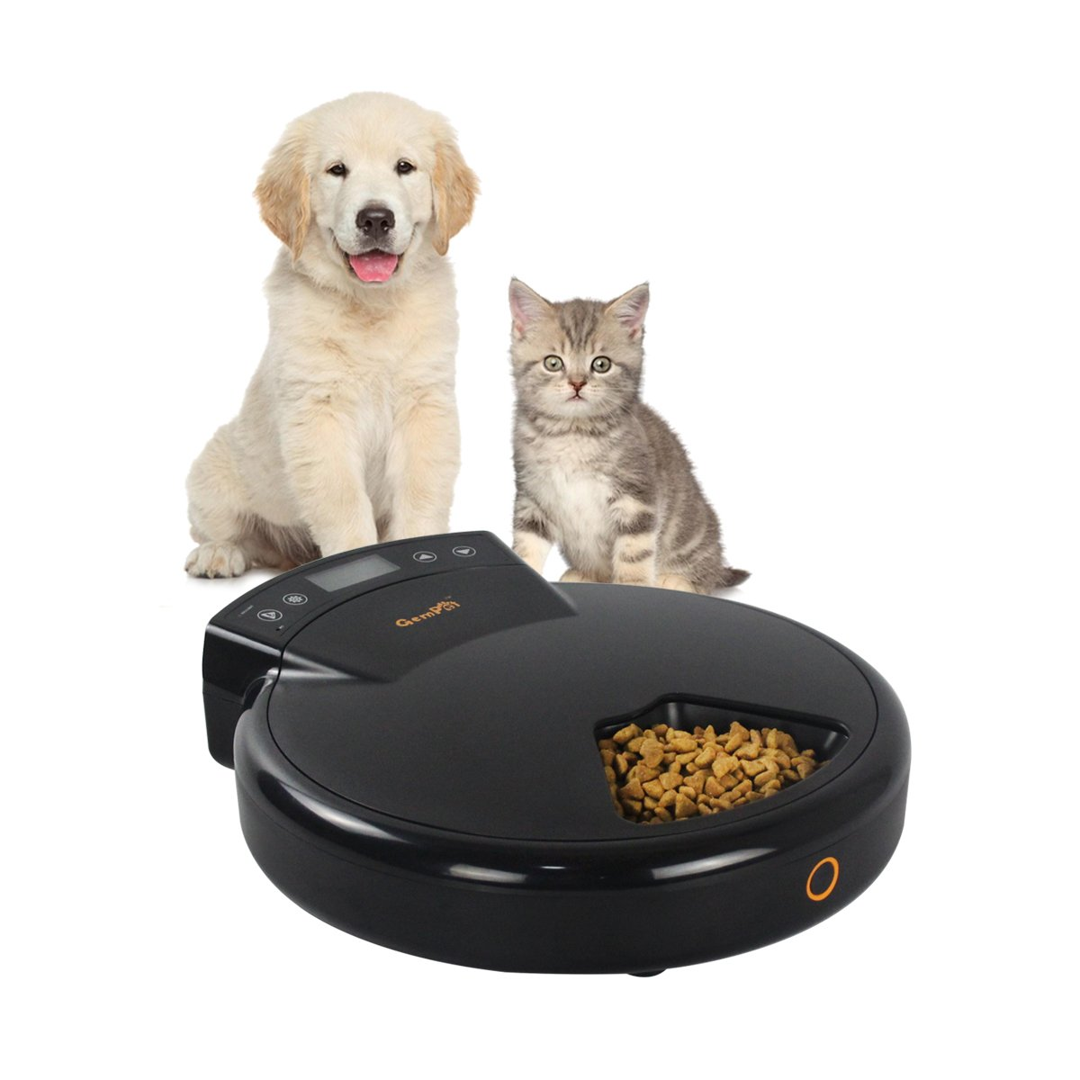 GemPet 5 Meal Trays Automatic Pet Feeder for Cats and Dogs, for Dry and Wet Food, 240ml Per Tray, Dual Power System