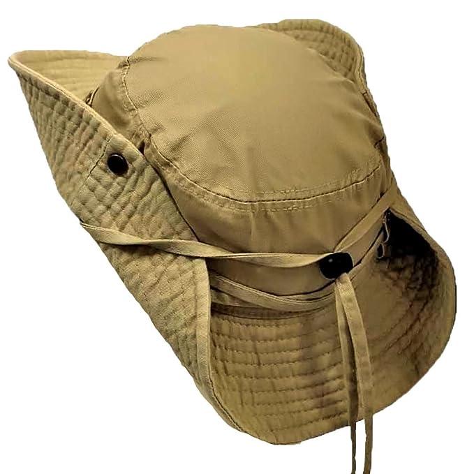 8771edfb6 Luxury Divas Khaki Outdoor Safari Hat With Snaps & Chin Cord: Amazon ...
