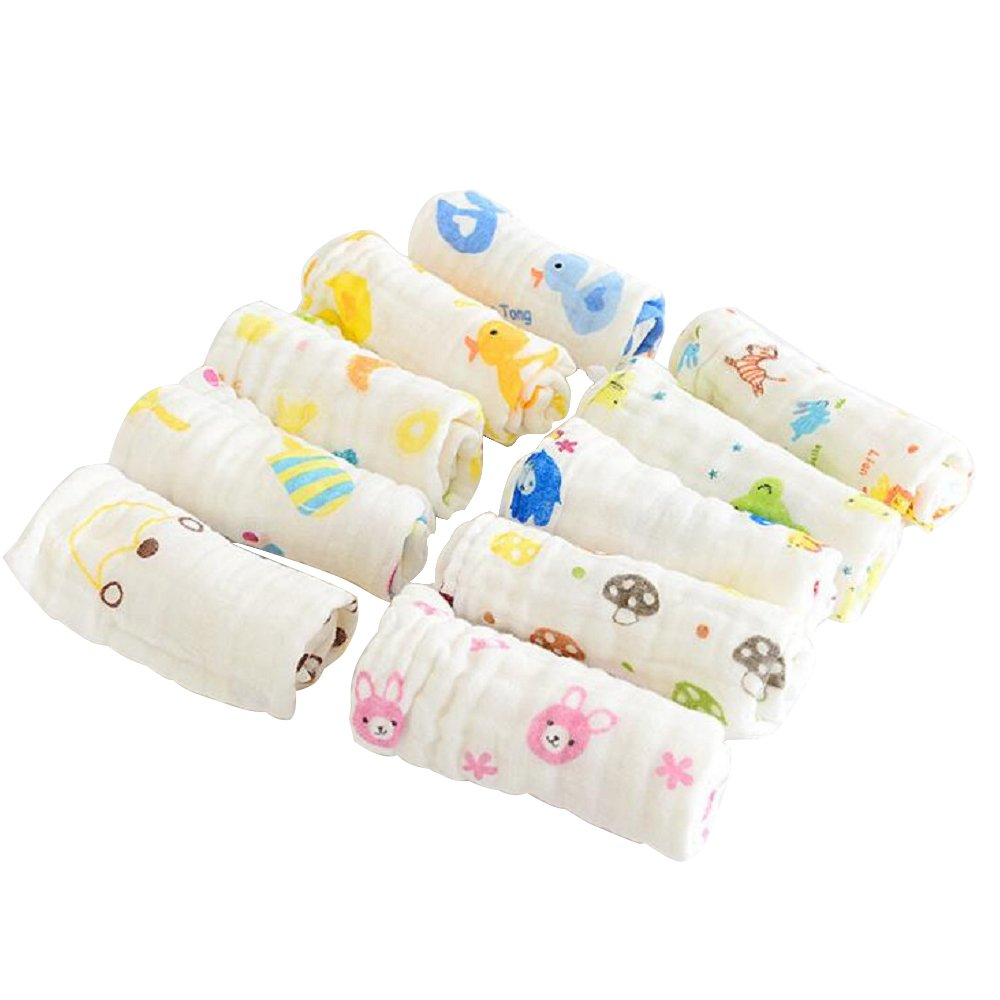 GFEU Muslin Cloths Baby, Set of 6 Soft Cotton Washcloths Newborn Infant Face Towels - Random Colour