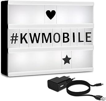 kwmobile caja de luz cinematográfica LED A5 - con 126 letras negras símbolos números - con fuente de alimentación - lámpara lightbox: Amazon.es: Iluminación