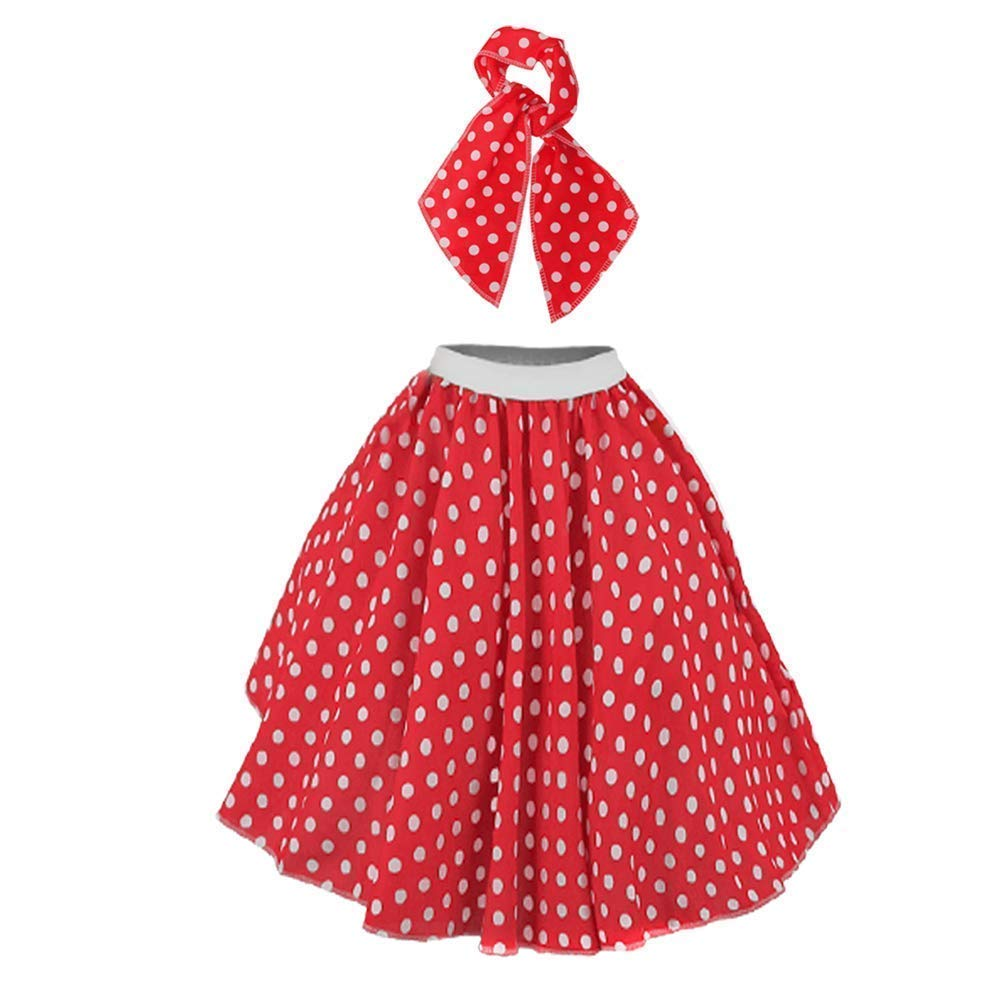 I LOVE FANCY DRESS LTD Falda Longa ROJA con Puntos Blancos Lunares ...