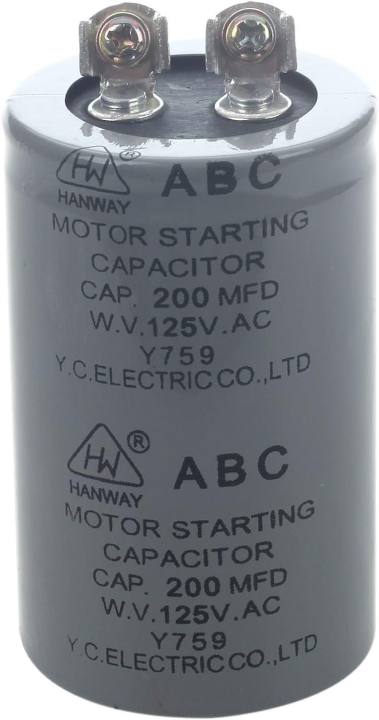 Gaoominy AC 125V 200uF 200MFD 2 Terminales Condensador de arranque del motor