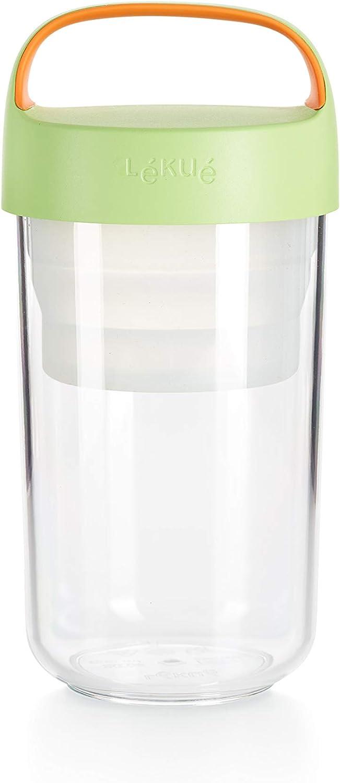 Lekue Go Food Travel Container, 600ml/20 fl. oz, Citrus Fruit reusable lunch jar, 20