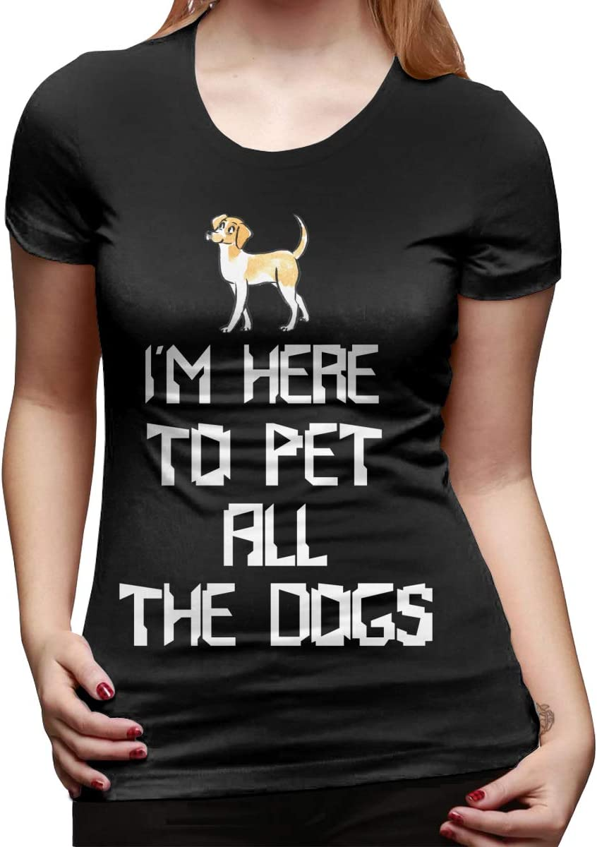 Summer Cotton T-Shirts Im Here to Pet All The Dogs Womens Lady-Fit Short Sleeve T-Shirt Tee