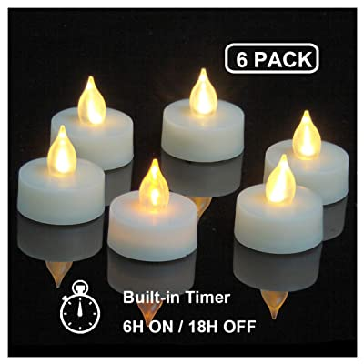 """iZAN 6-Pack Flameless LED Battery Operated Tealight Candles with Timer Flickering Electric Decorative Tea Lights for Christmas Décor Home Party Wedding Decorations 1.5""""x1.6"""" Batteries Included: Home Improvement"""