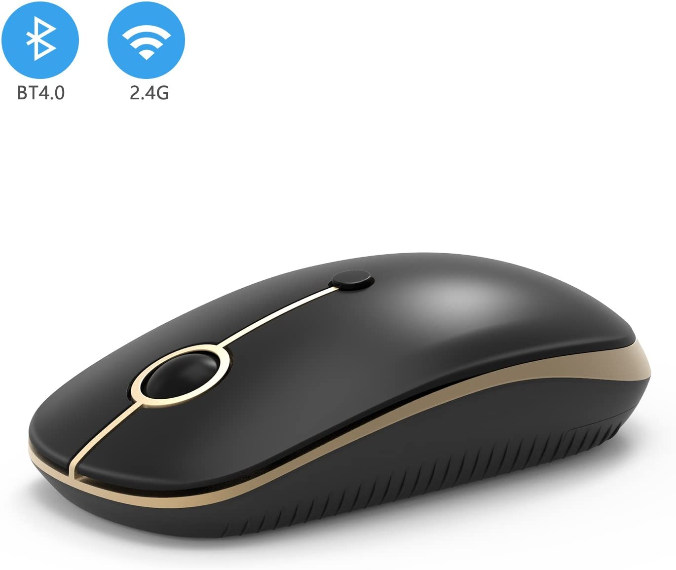 2.4GHz Wireless Bluetooth Mouse, Jelly Comb Dual Mode Slim Wireless Mouse with 2400 DPI Compatible for PC, Laptop, Mac, Android, Windows (Black and Gold)